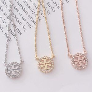 Tory Burch Round Hollow Gold-plated Zircon Chain
